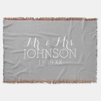Solid Color Silver - Mr & Mrs Wedding Favors Throw Blanket