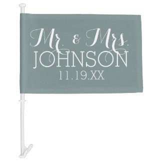 Solid Color with Mr & Mrs Wedding Favors Car Flag