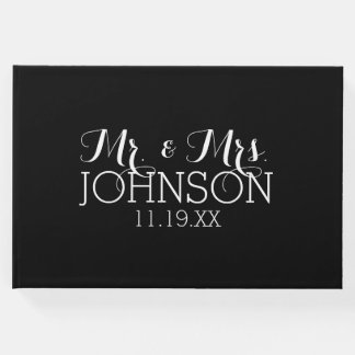 Solid Colour Black Mr & Mrs Wedding Favours Guest Book