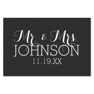 Solid Colour Black Mr & Mrs Wedding Favours Tissue Paper