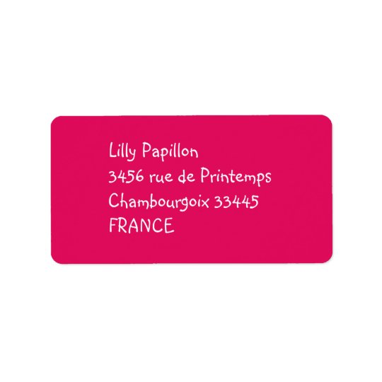 solid colour raspberry address label