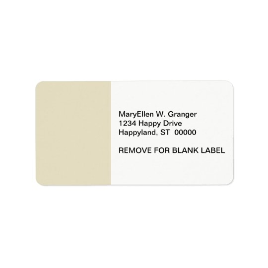 Solid Colour: Sand Beige Address Label