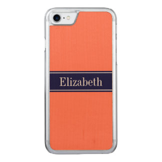 Solid Coral, Navy Blue Ribbon Name Monogram Carved iPhone 8/7 Case