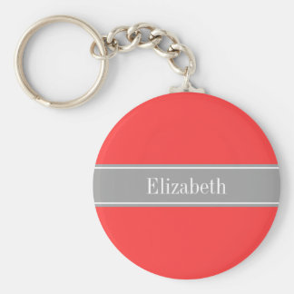 Solid Coral Red, Dark Gray Ribbon Name Monogram Keychains