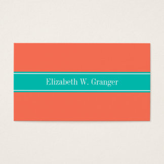 Solid Coral, Teal Ribbon Name Monogram Business Card