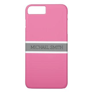 Solid Cyclamen Modern Gray Ribbon Elegant Name iPhone 8 Plus/7 Plus Case