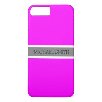Solid Fuchsia Modern Gray Ribbon Elegant Name iPhone 8 Plus/7 Plus Case