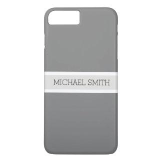 Solid Gray Modern Platinum Ribbon Elegant Name iPhone 8 Plus/7 Plus Case