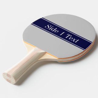 Solid Gray Navy Blue Ribbon Name Monogram Ping Pong Paddle