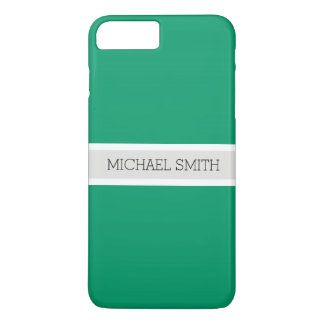 Solid Green-cyan Modern Ribbon Elegant Name iPhone 8 Plus/7 Plus Case