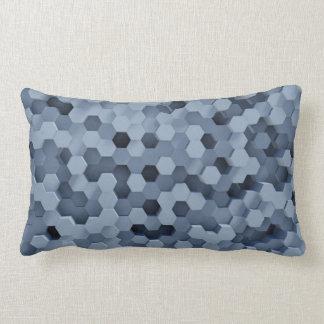 Solid Honeycombs Steel Blue Lumbar Pillow