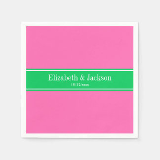 Solid Hot Pink #2 Emerald Green Rbn Name Monogram Paper Napkins