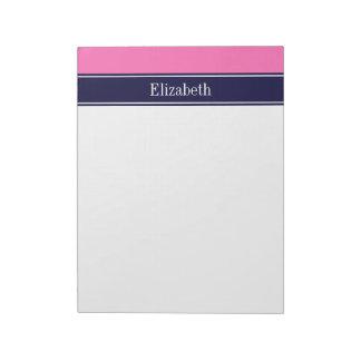 Solid Hot Pink #2, Navy Blue Ribbon Name Monogram Notepad