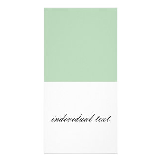 Solid LIGHT GREEN Customized Photo Card
