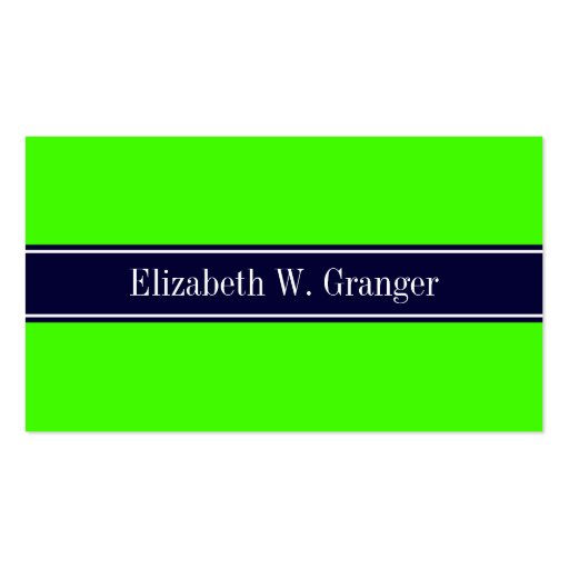 Collections of solid color business cards page2 solid lime green navy blue ribbon name monogram business card templates reheart Image collections