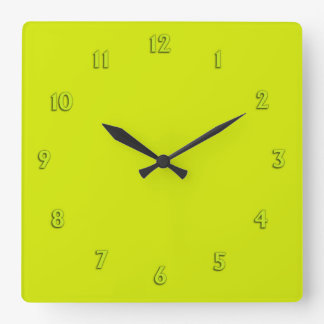 Solid Lime Green with Lime Numbers Clocks