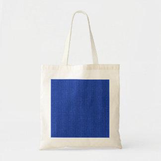Solid Medium Blue Knit Stockinette Stitch Pattern Budget Tote Bag