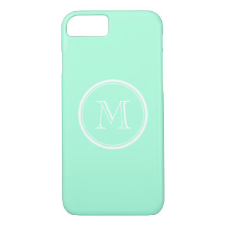 Solid mint green color monogram iPhone 7 case