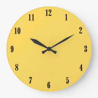 Solid Mustard Yellow with Black Numbers Large Clock