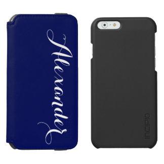 Solid Navy Blue Background, Name Monogram Incipio Watson™ iPhone 6 Wallet Case