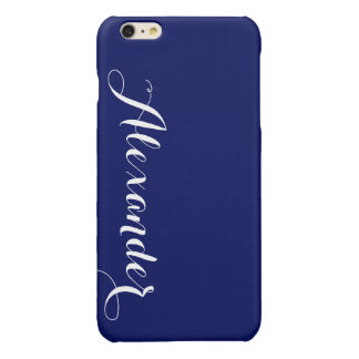 Solid Navy Blue Background, Name Monogram iPhone 6 Plus Case