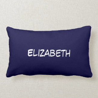 Solid Navy Blue Blue Background, Name Monogram Lumbar Cushion