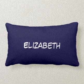 Solid Navy Blue Blue Background, Name Monogram Lumbar Pillow