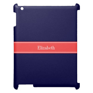 Solid Navy Blue Coral Red Ribbon Name Monogram iPad Covers