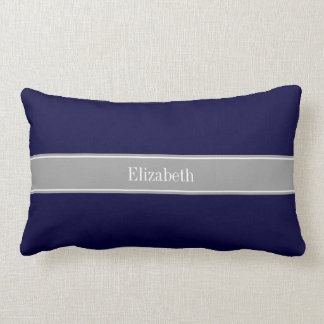 Solid Navy Blue, Dark Gray Ribbon Name Monogram Lumbar Pillow