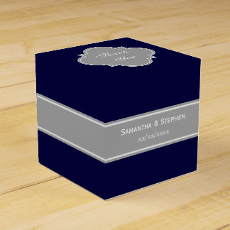 Solid Navy Blue, Dark Gray Ribbon Name Monogram Party Favour Box