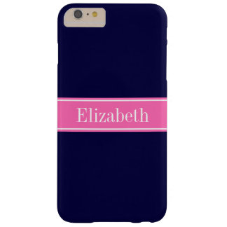 Solid Navy Blue Hot Pink #2 Ribbon Name Monogram Barely There iPhone 6 Plus Case