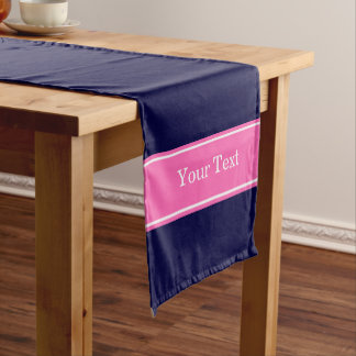 Solid Navy Blue Hot Pink #2 Ribbon Name Monogram Short Table Runner
