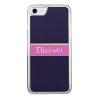 Solid Navy Blue, Lilac Ribbon Name Monogram Carved iPhone 8/7 Case