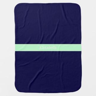 Solid Navy Blue, Mint Ribbon Name Monogram Baby Blanket