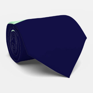 Solid Navy Blue, Mint Ribbon Name Monogram Tie