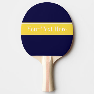 Solid Navy Blue, Pineapple Ribbon Name Monogram Ping Pong Paddle