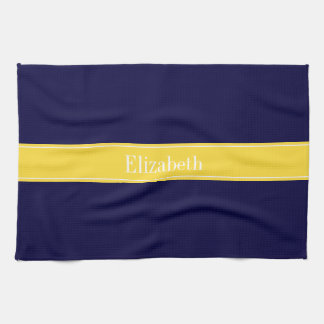 Solid Navy Blue, Pineapple Ribbon Name Monogram Tea Towel
