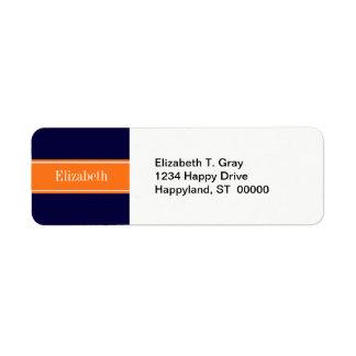 Solid Navy Blue, Pumpkin Ribbon Name Monogram