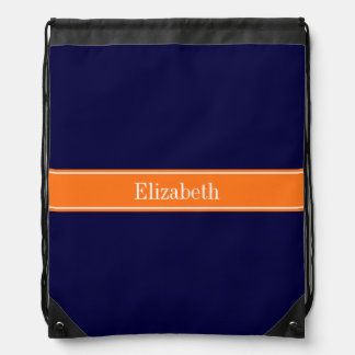 Solid Navy Blue, Pumpkin Ribbon Name Monogram Drawstring Bag