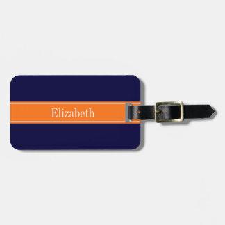 Solid Navy Blue, Pumpkin Ribbon Name Monogram Luggage Tag