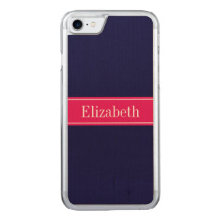 Solid Navy Blue, Raspberry Ribbon Name Monogram Carved iPhone 8/7 Case