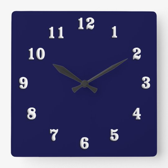 Solid Navy Blue Square Wall Clock