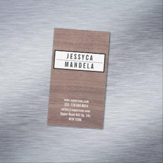 Solid on Hazel Wood Magnetic Business Cards