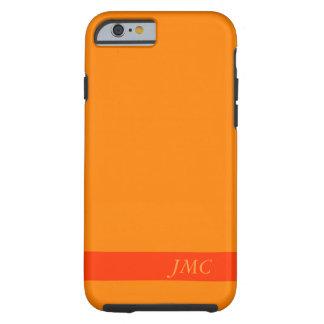 Solid Orange one Stripe Optional Monogram Initials Tough iPhone 6 Case