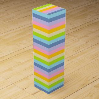 Solid Pastel Rainbow Stripes Wine Box