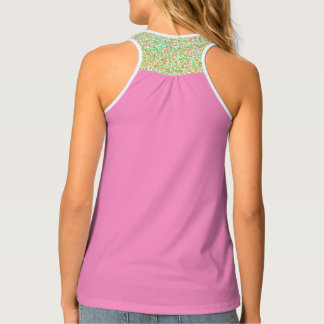 Solid, patterned, gold, pink, bright green, tank