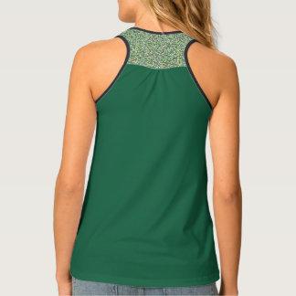 Solid, patterned, green, designer activewear tank tank top