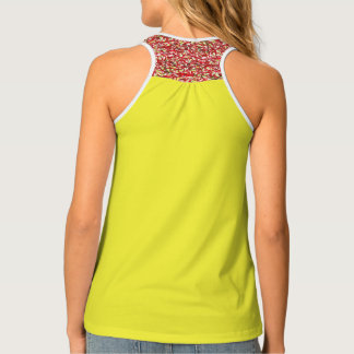 Solid, patterned, yellow and red tank