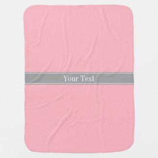 Solid Pink, Dark Gray Ribbon Name Monogram Baby Blanket