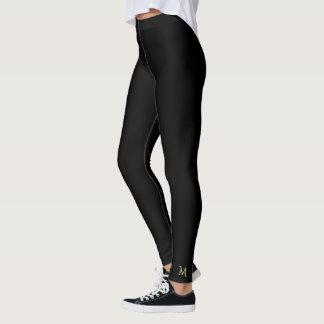 Solid Plain Black Monogram Leggings Yoga Pants